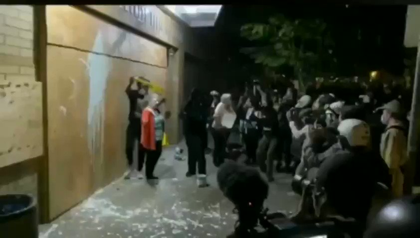 Old women tries to stop #Antifa / #BlackLivesMattter Rioters from attacking Portland precinct..These people are 100% demented Sheep..and that old lady has Courage.. pic.twitter.com/ZzhvUDqqyg