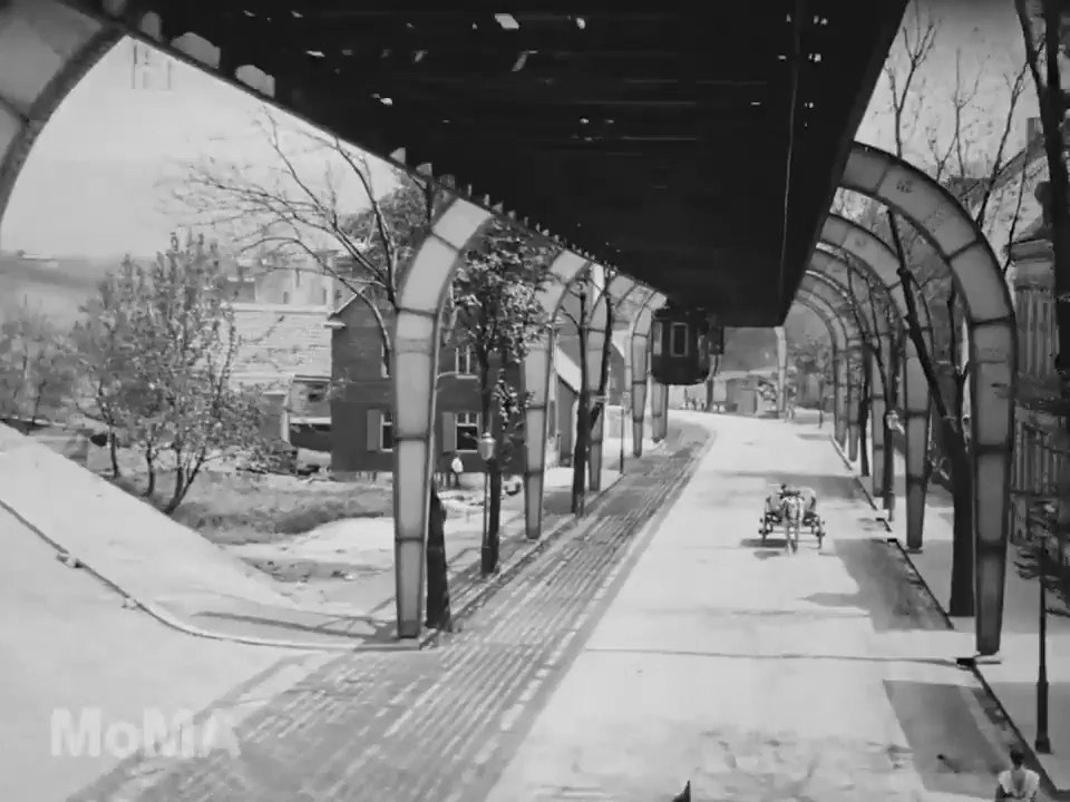 In love with this 1902 video released by @MuseumModernArt the other day. Shot on 68mm film in Wuppertal, Germany on the still-functioning oldest suspended monorail in the world Schwebebahn