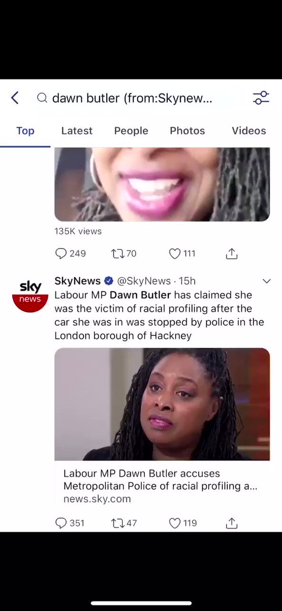 So @SkyNews pushing Dawn Butler's divisive race-baiting anti law and order agenda because her driver was stopped by the Police doing their job TV interview & 12 tweets in 15 hrs On Saturday 17yr old Londoner hacked to death on Oxford st Sky News 1 tweet This Cannot Continue.