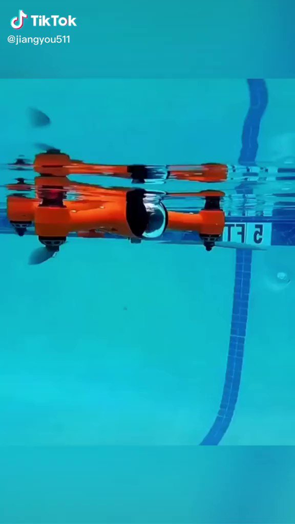 Image for the Tweet beginning: This drone can swim too!  #AI