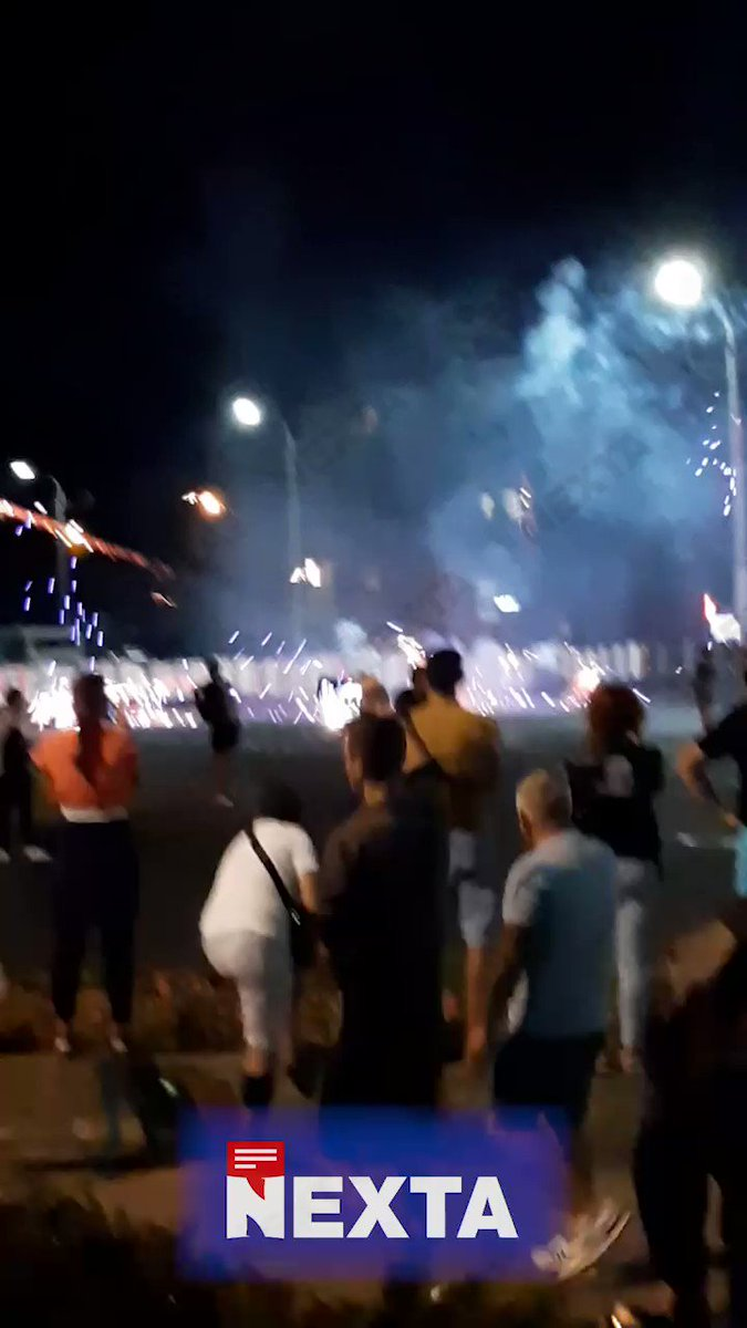 Protesters in Minsk return fire to the police with fireworks
