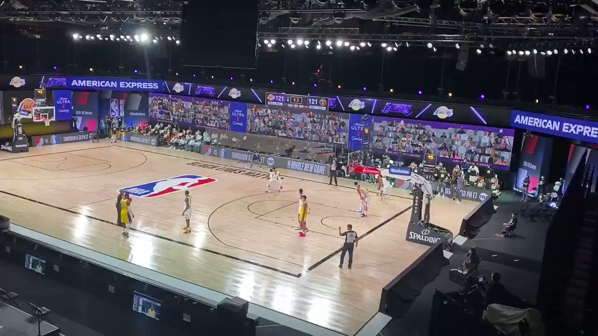 A look inside the building at Kyle Kuzma's game winner from up above: https://t.co/Nde20wKuOY