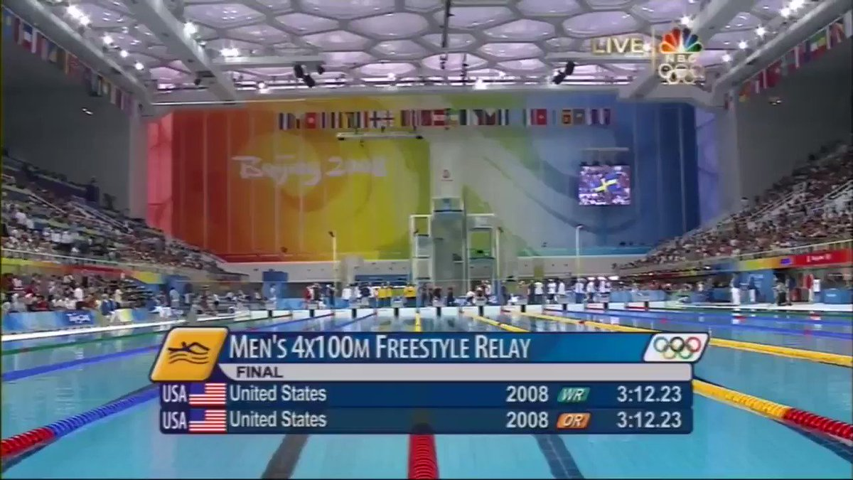 """August 11, 2008: Men's Olympic 4x100m Freestyle Relay Final in Beijing. Phelps' 2nd of 8 golds. @JasonLezak w/ best final relay leg ever 🇺🇸 @DanHicksNBC & @RowdyGaines on the call """"The Americans? Were going to smash 'em. Thats what we came here for.""""- France's Alain Bernard"""