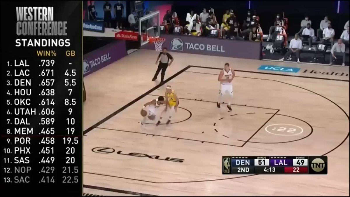 Jamal Murray drives coast-to-coast and scoops in the transition layup through heavy traffic #Nuggets #MileHighBasketball https://t.co/BUEdcyzgk8