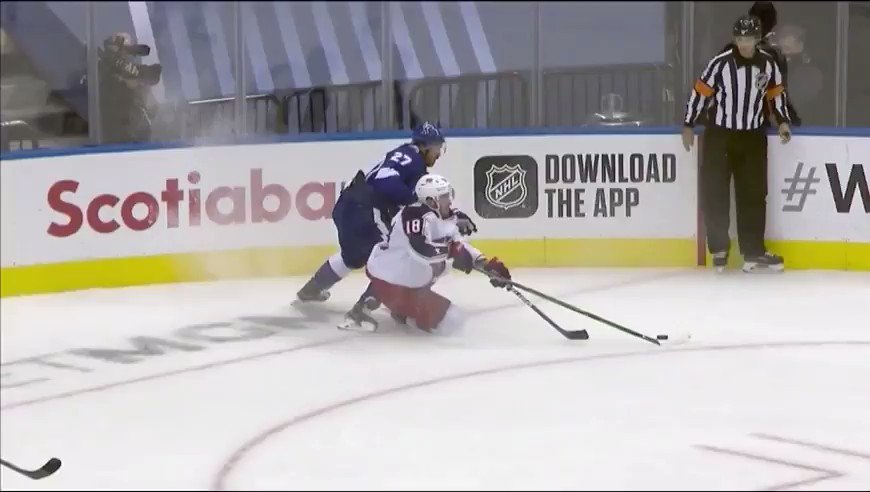 Texier boxed for a hi-stick, but that's not…Texier's stick? #GoBolts #CBJ