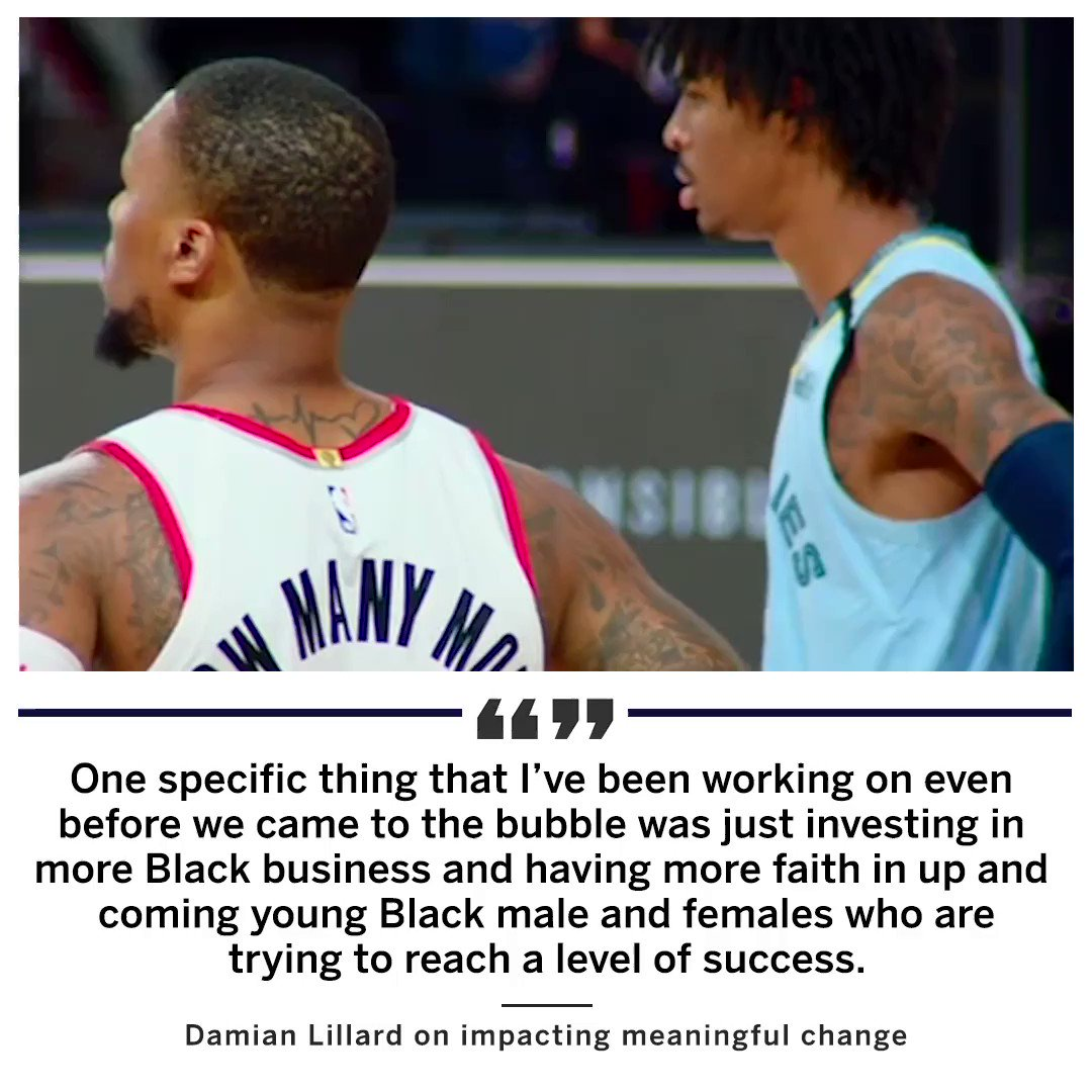 Damian Lillard may be pushing his team into playoff position but he's also working to promote Black Businesses & amplify black voices. REAL TALK @Dame_Lillard https://t.co/C6m3RPJumK