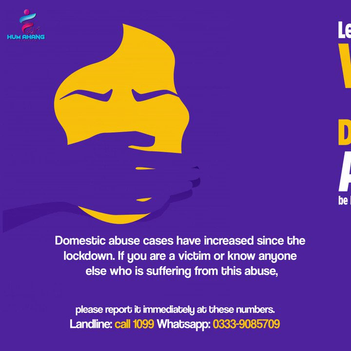 Do you know someone suffering from domestic abuse? Help them and report now! Call the numbers given.  #HumAhang #SABHA #COVID19 #Pandemic #Pakistan #CoronaVirus #together #stayhome #staysafe #socialdistancing #HumAhangInCrisis #domesticviolence #violence #quarantine #isolation https://t.co/5PS9Q5ZAEr