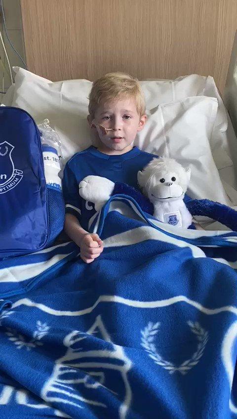 A little message from Harry to @Everton @efc_fanservices! Thank you @JaydeeneC @YannickBolasie @aftgomes @richarlison97 @KevRatcliffe4 @theowalcott #harryourhero #bluefamily
