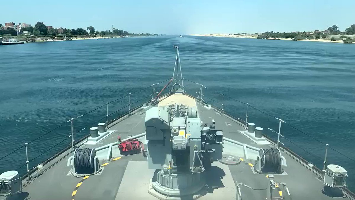 @HMSLedbury has completed the transit through the 193Km long Suez Canal into the Mediterranean Sea with @HMSBlyth #mutualsupport #ships @RoyalNavy