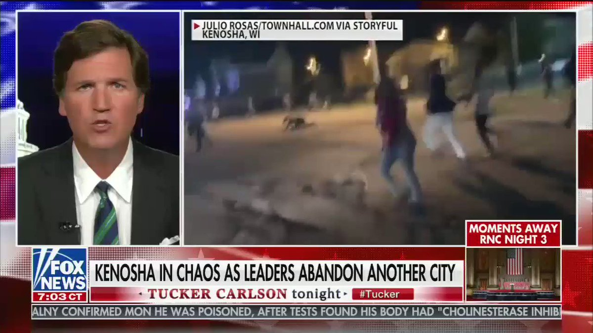 """Tucker Carlson: """"How shocked are we that 17 year olds with rifles decided they had to maintain order when no one else would?"""" https://t.co/6jf59YW60U"""