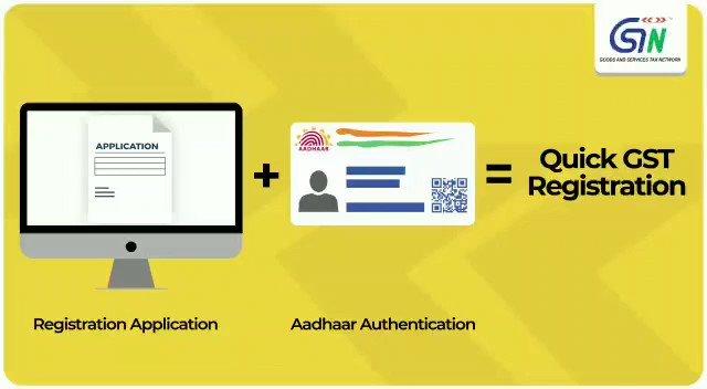 Registration Application + Adhar Authentication = Quick GST Registration #EaseOfDoingBusiness #3yearsofgst @cbic_india @FinMinIndia @nsitharamanoffc @nsitharaman @ianuragthakur @PIB_India @PIBKolkata