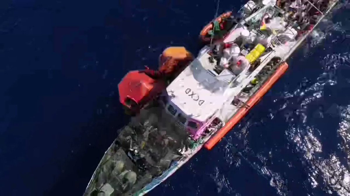 The crew managed to keep #LouiseMichel stable for almost 12h now. Our new friends told us they lost 3 friends on their journey already. Including the dead body in our one life raft, that makes 4 lives vanished because of Fortress Europe... And we are still waiting. https://t.co/Te2PKCv2Gn