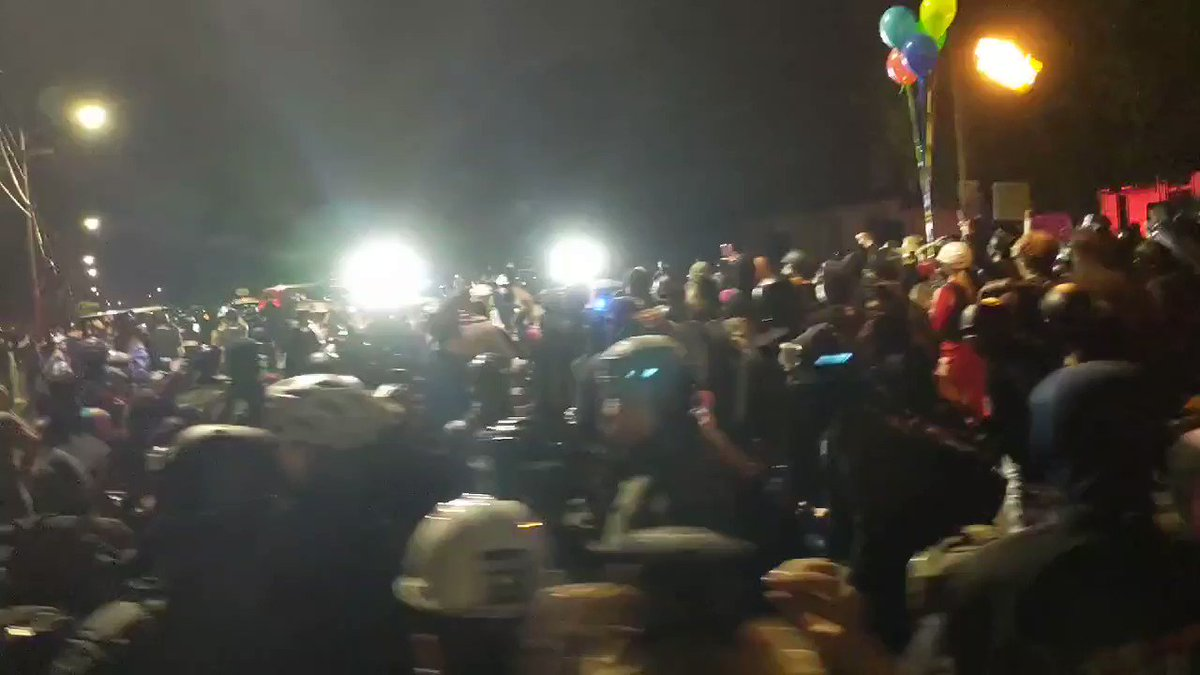 Hundreds of protesters are out in Portland tonight for the 100th night of demonstrations. Police have blocked the road. We are already seeing molotov cocktails from protesters and riot-control munitions from police. https://t.co/O6b1fC0OHq