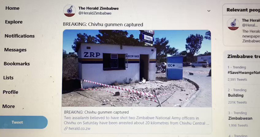 Watch! @HeraldZimbabwe changed their story about the extrajudicial killing of the two Chivhu suspects but didnt clean up after themselves. Original story said they were captured and arrested. If you click on the link, it now says killed in shootout. What really happened?
