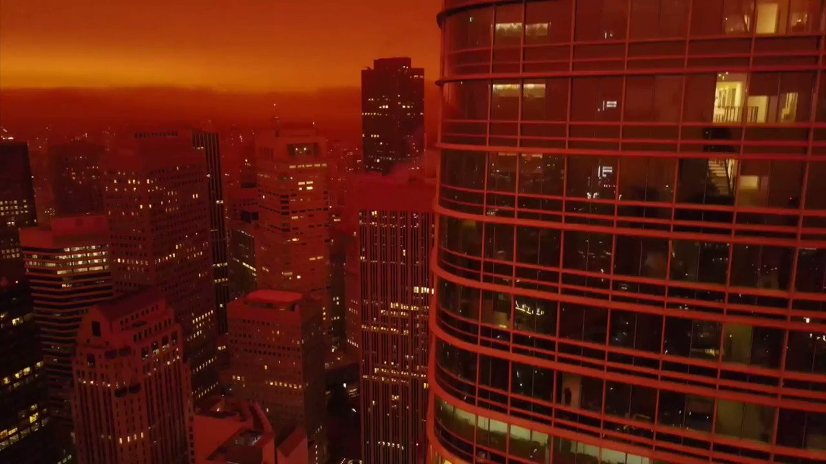 A redditor took drone footage of yesterday's hellish atmosphere in San Francisco and set it to Blade Runner 2049's musical score.  https://t.co/AzzucKhDo6 via r/woahdude https://t.co/xYieynXvn2