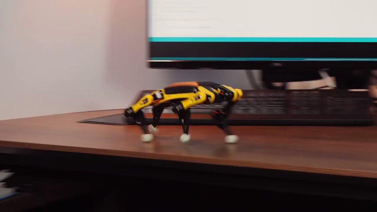 あの犬型ロボット「Spot」が手のひらサイズに!動きもそっくりに再現した四足歩行ロボットが販売決定 掌サイズで重さは280g。行動パターンの記録ができる他、リモコン操作も可能。一度の充電で1時間ほど起動。 カメラやセンサーも取り付け可能で拡張性も高い。24000円から。