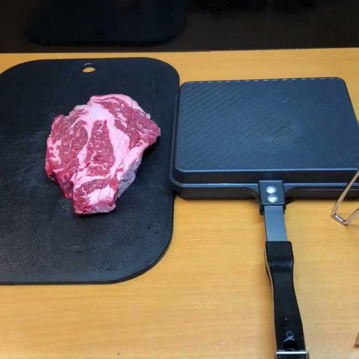 おっきい肉をおっきいHSMで焼いてサッポロをキメるだけの動画