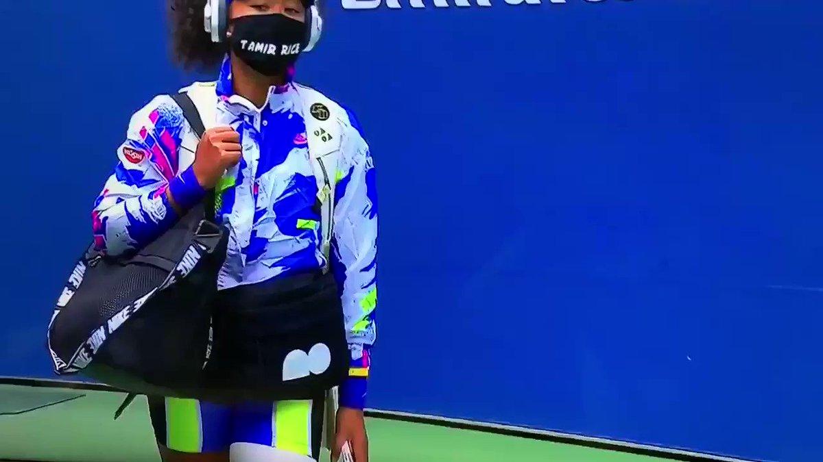 """大坂なおみ選手、全米オープン決勝のマスクの名前は """"Tamir Rice""""(タミル・ライス)。 2014年にオハイオ州クリーブランドで白人警官に射殺された12歳の黒人少年だ。12歳……  #BlackLivesMatter #全米オープンテニス"""
