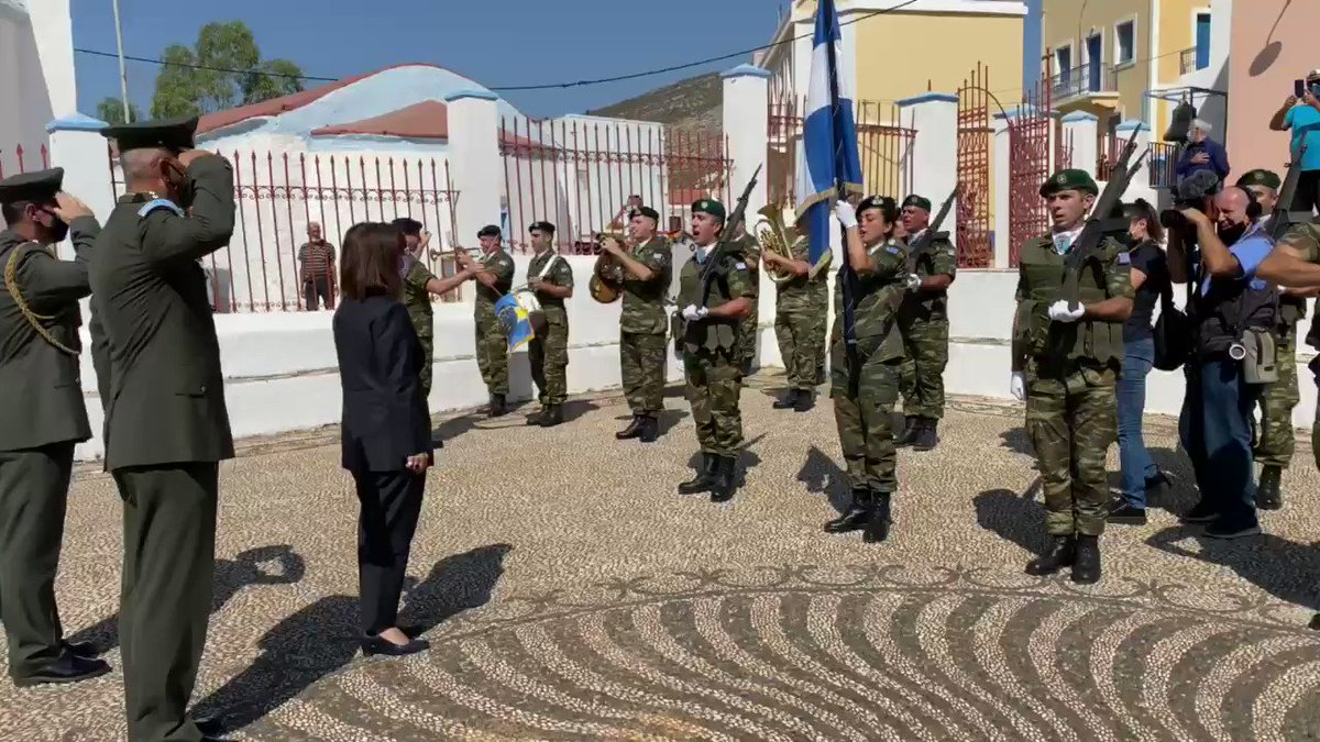 #Greece - head off state - Katerina Sakellaropoulou - visits tiny Island of #Kastellorizo close to #Turkey as tensions between two countries continue