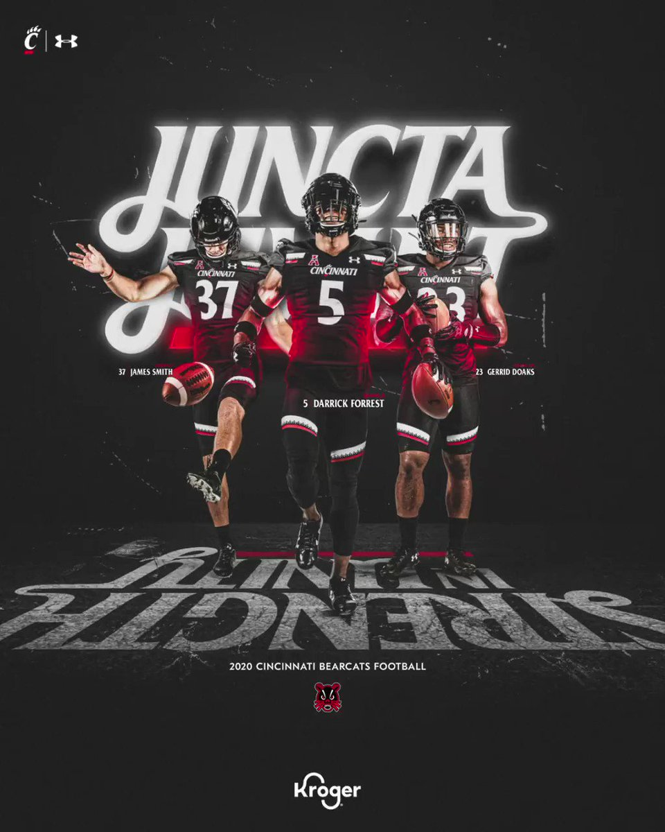 """Your 2020 @GoBearcatsFB posters are here.  🔺 6 designs 🔺 2 desktop wallpaper sizes 🔺 3 mobile wallpaper sizes 🔺 8.5x11"""" print-at-home PDF 🔺 Instagram posts and story content 🔺 Animated poster  🔗: https://t.co/xofKub7Fbj ––presented by @kroger https://t.co/pPqF948B8k"""