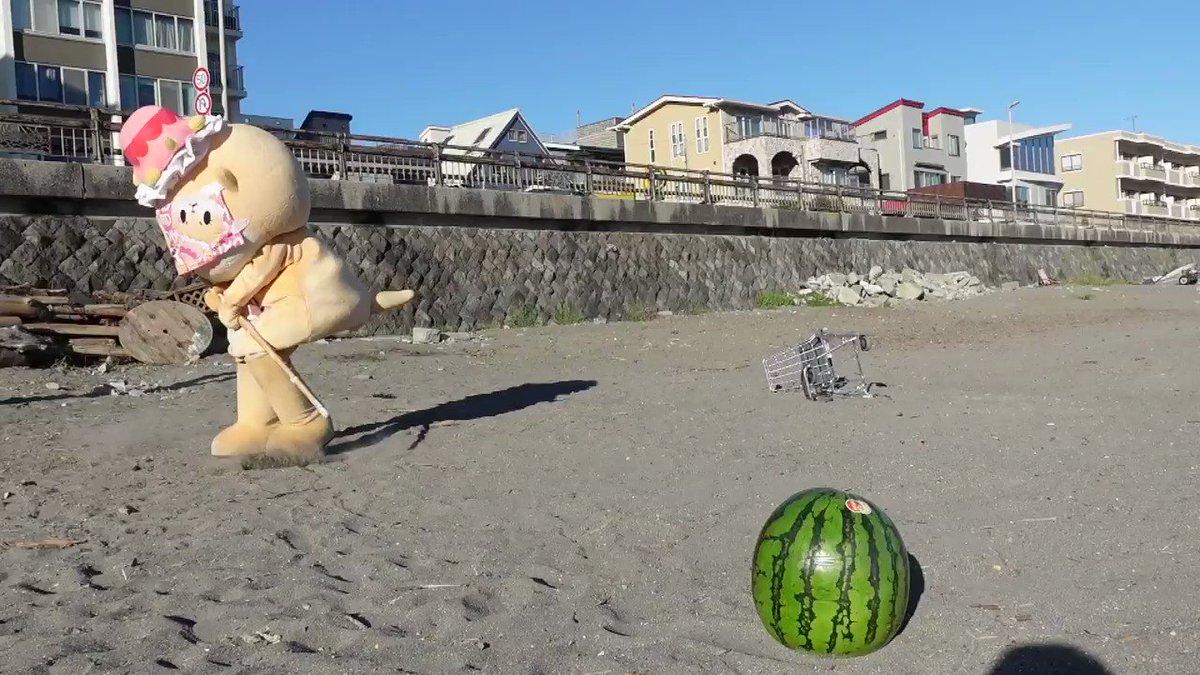 海といえばスイカ割りですっ☆ちぃたん☆ですっ☆My friend is watermelon