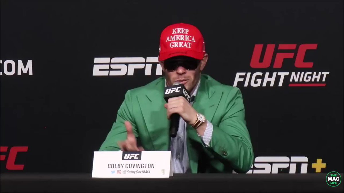 Colby Covington's response to Tyron Woodley wearing 'Make Racists Catch The Fade Again' hat #UFCVegas11 https://t.co/zOfjkq1GiG