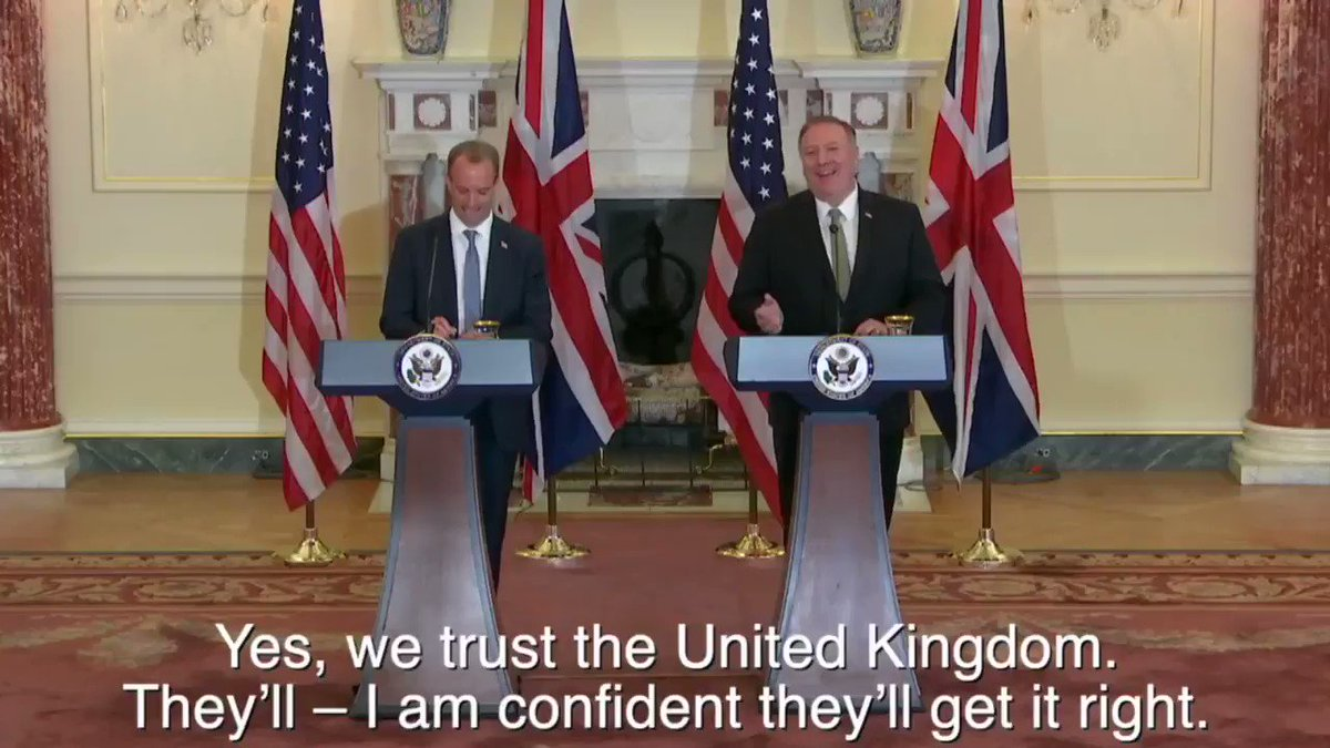 Secretary Pompeo is right! We trust the United Kingdom and are confident that they'll get these complex negotiations right in a way that treats everyone fairly and respects the choice UK voters have made.