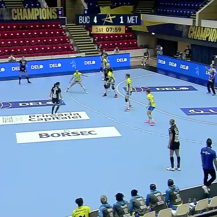 Awesome goal scored by @caramela_88 in the first #deloehfcl game. Looking forward to many more tomorrow against Team Esbjerg! Stay tuned!  #ehfcl #ShowTimeForChampions #CSMBucuresti https://t.co/nohjF4rZRK