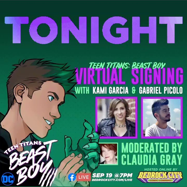 Tonight's the night! Join @kamigarcia, @_gabrielpicolo, @claudiagray, and us at 7pm at bedrockcity.com/live