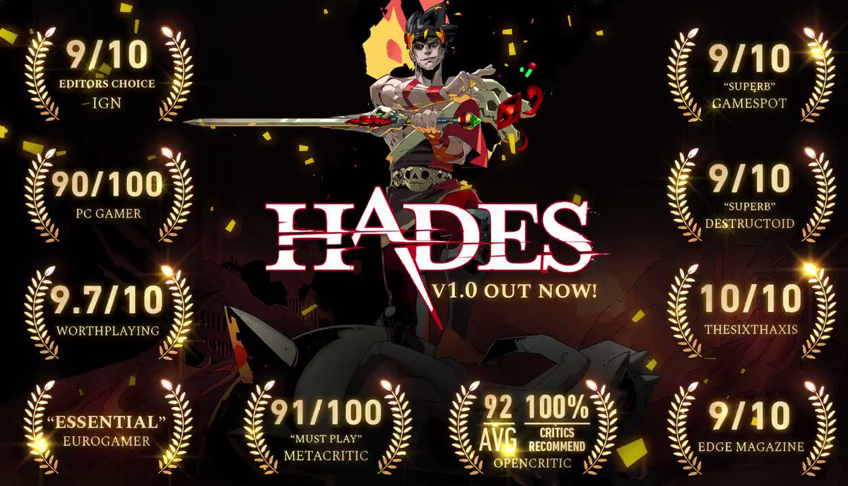 Hades, our god-like rogue-like dungeon crawler, is complete, and its the best-reviewed game weve ever made. Get it for 20% off through Sep 24. #HadesGame 🔥Nintendo Switch - supergiant.games/hadesswitch 🔥Steam - supergiant.games/hadessteam 🔥Epic Games Store - supergiant.games/hadesegs