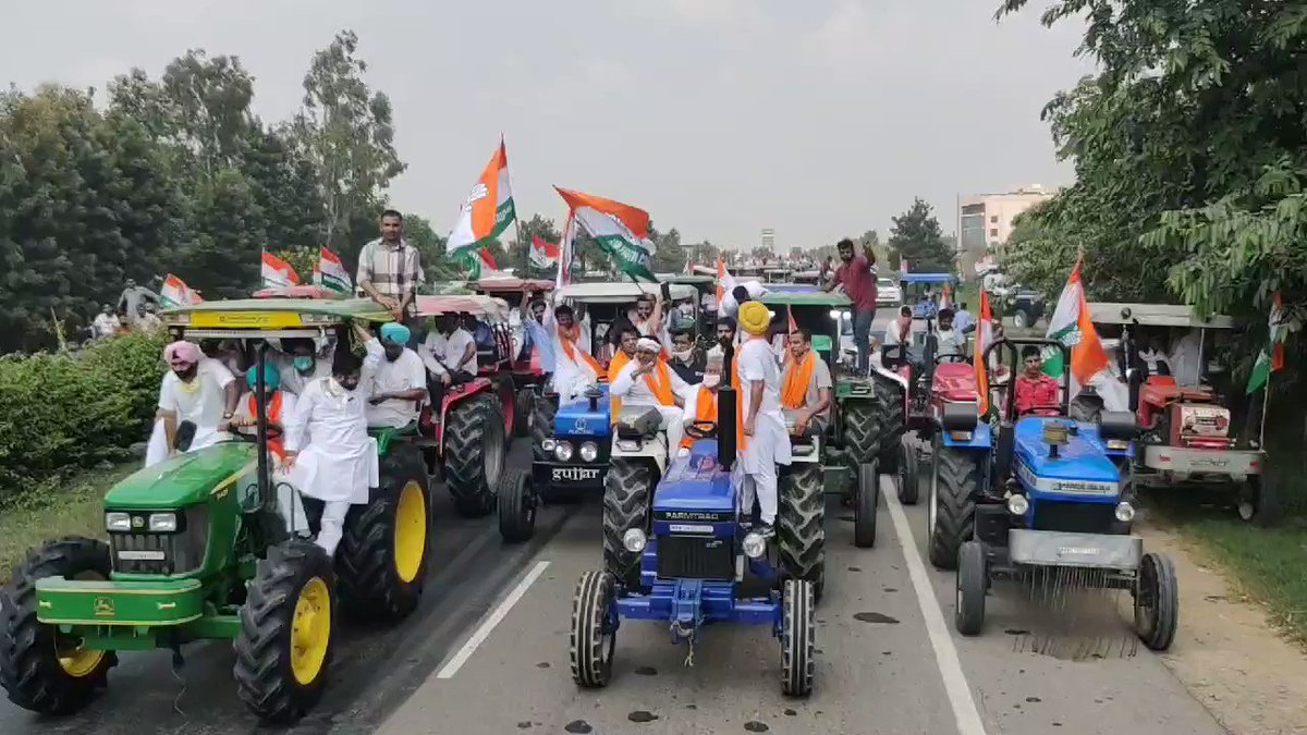 Hundreds gathered today at the Tractor Rally organised by Punjab Youth Congress to stand in solidarity with the farmers of India. Modi govts attack on farmers will not be tolerated. I thank you all for your spirit to safeguard Indias soul. #KisanVirodhiNarendraModi
