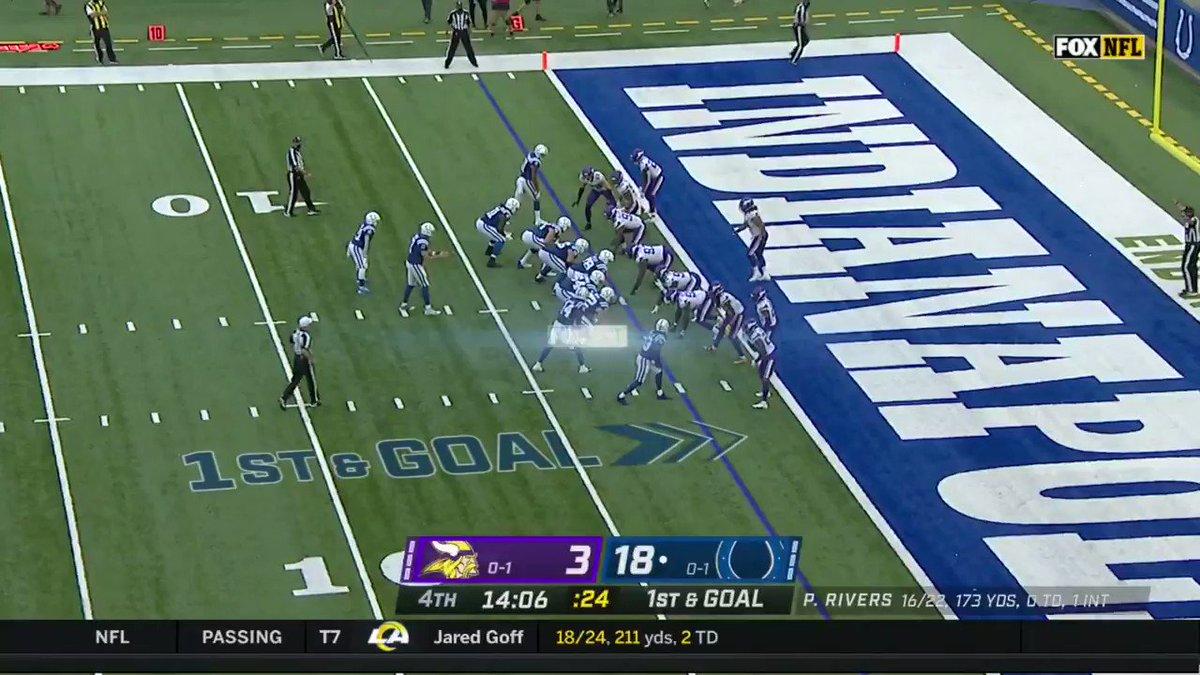 Philip Rivers con el pase de 2 yds a Zach Pascal 🔥🔥 Los Colts siguen anotando puntos y ampliando el marcador #NFLEspañol #MINvsIND #ForTheShoe