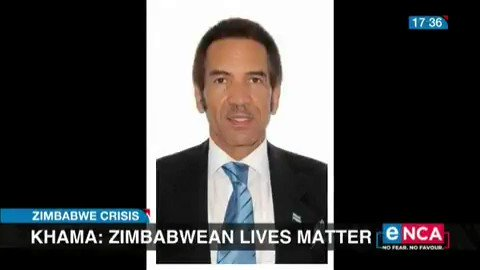 Ian Khama, the former president of Botswana, continues to take a stand on the Zimbabwe crisis, and says people have shown remarkable resilience in the face of repression and #ZimbabweanLivesMatter.