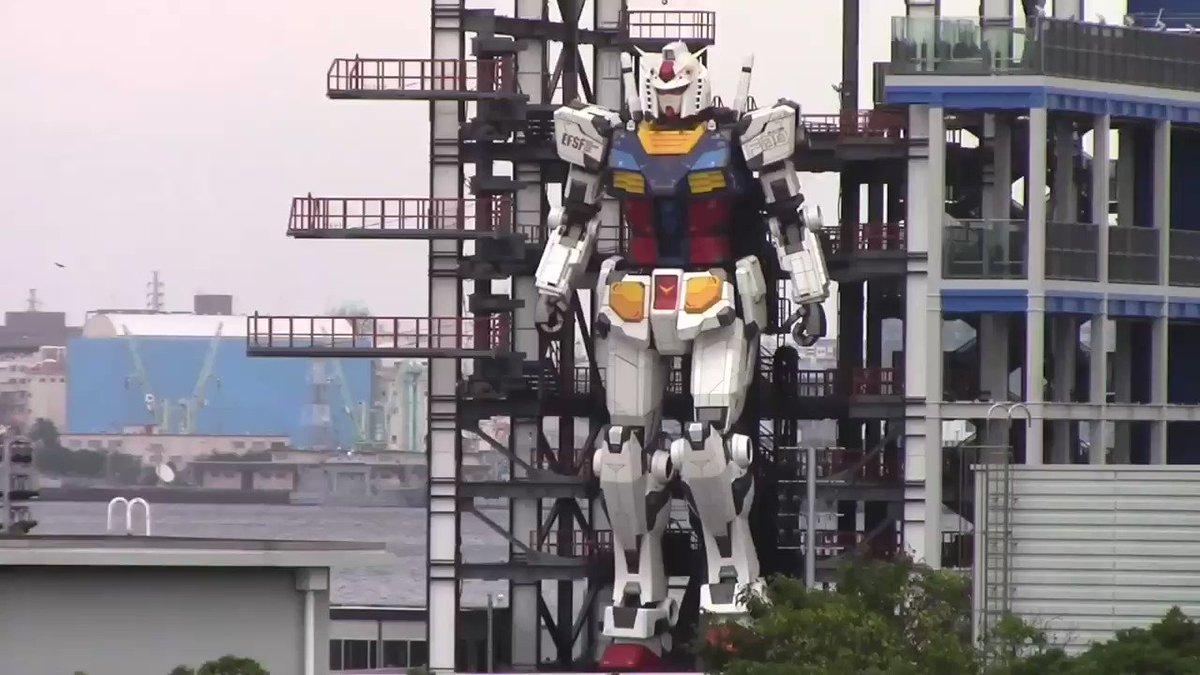 Life-sized Gundam in Yokohama is now in testing mode.