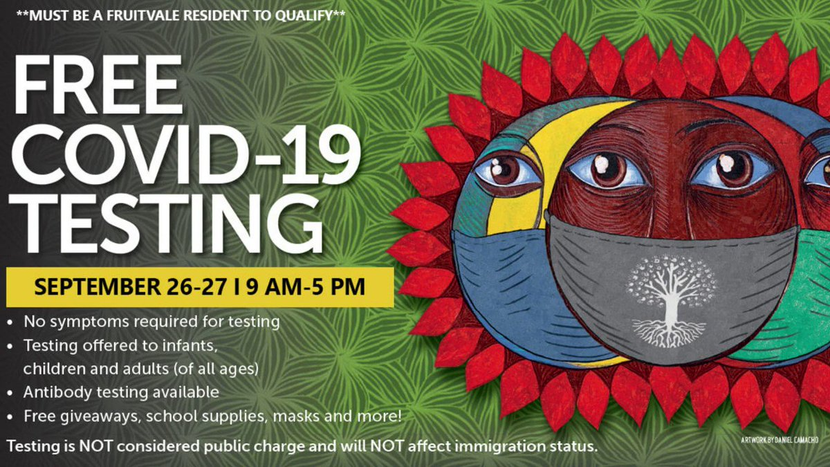 Join us THIS WEEKEND 9 AM-5PM.  All Fruitvale residents get free COVID-19 testing at La Clinica de la Raza, 35th Ave & E. 12th St. We join UCSF, The Unity Council, and others to fight COVID-19 & save lives.  ➡️ https://t.co/e5YlJDnjwZ.  #SanandoJuntosFruitvale