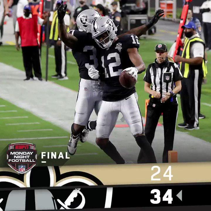 FINAL: The @Raiders win their home opener in Las Vegas! #RaiderNation #NOvsLV   (by @Lexus) https://t.co/lUDnSJi19P