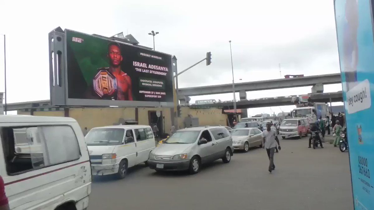 Israel Adesanya is getting love in his home country of Nigeria. Here is a billboard promoting his title fight this weekend. https://t.co/rpwOBlRiLh