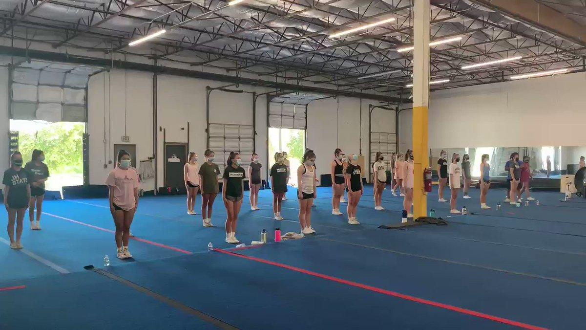 Image for the Tweet beginning: Great Gymnastics Practice today!