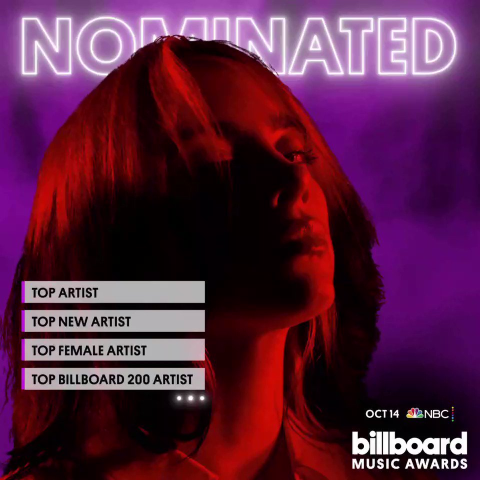 Billie is nominated for 12 @BBMAs.  Top Artist Top New Artist Top Female Artist Top Billboard 200 Artist Top Hot 100 Artist Top Streaming Songs Artist Top Song Sales Artist Top Social Artist Top Billboard 200 Album Top Hot 100 Song Top Streaming Song Top Selling Song https://t.co/2aIwVoP9dg