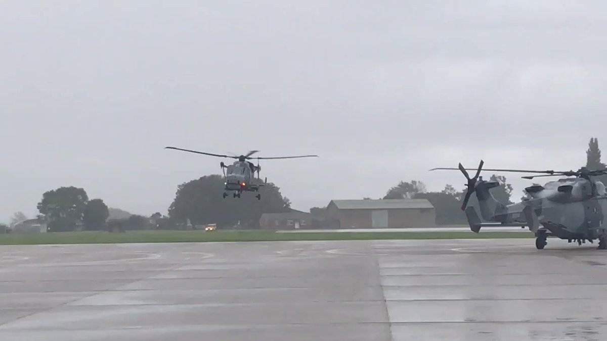 Rain cannot dampen spirits today as we welcome home 214 Flight. The Wildcat Flight return home to @815NAS after 6+ months embarked @hms_argyll in the Gulf. #flynavy 🚁⚓️ @CdreGriff @MartinJConnell @RoyalNavy @825NAS
