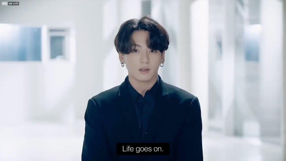 'Life goes on 人生は続く''Let's live on 共に生きよう'泣いた😭😭#BTS #UNGA