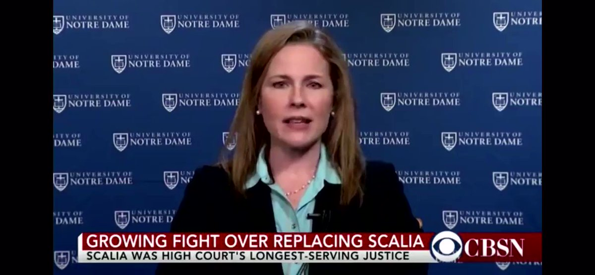 "Trump #SCOTUS front-runner Amy Coney Barrett, when asked whether Obama should be able to appoint a Supreme Court justice in an election year, said it's inappropriate when it would ""dramatically flip the balance of power."" https://t.co/loLMaLrsUm"