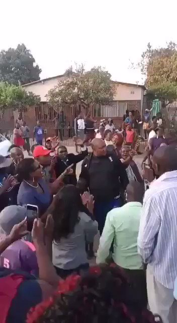 #LocalHero After a month in prison accused of inciting public violence before his release on bail Wednesday morning, this was the welcome awaiting Zengeza West MP Job Sikhala when he returned home to St Marys 📸 @pmkwananzi