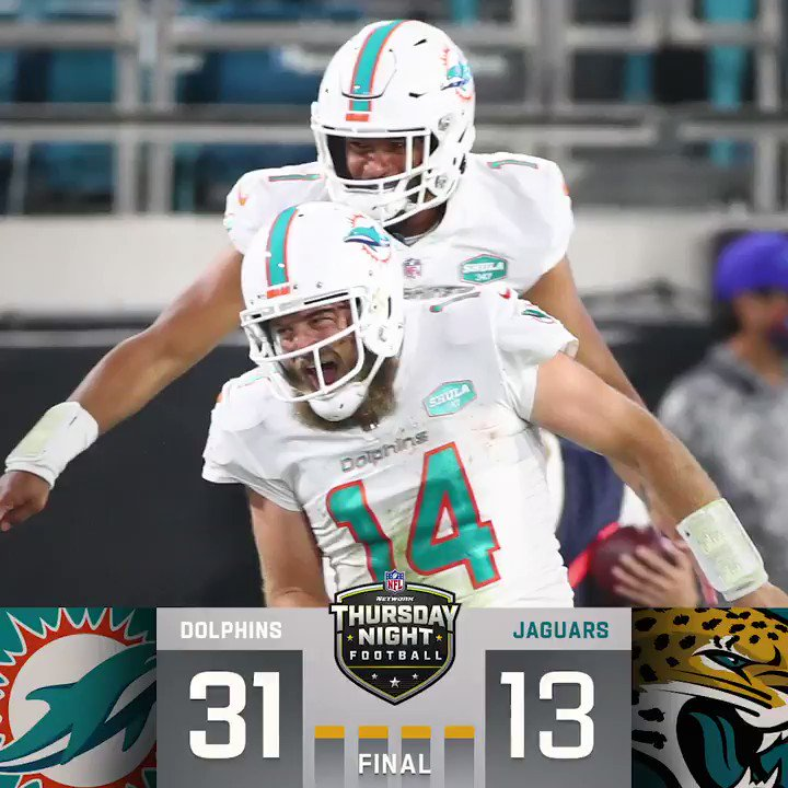 FINAL: The @MiamiDolphins pick up the #TNF win! #FinsUp #MIAvsJAX (by @Lexus)