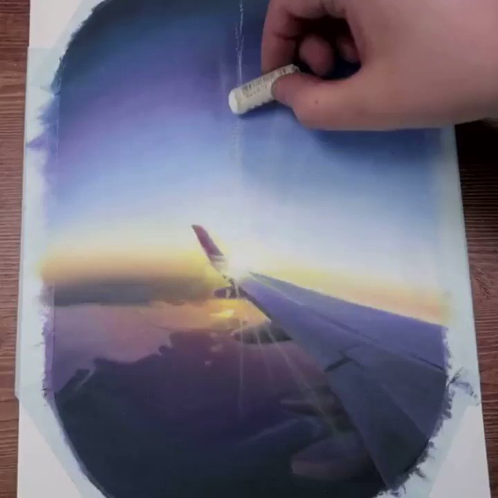 If you're missing airplane window pictures, here's an oil pastel recreation → https://t.co/iFhGlCTkVh https://t.co/yX8A3BlD7M