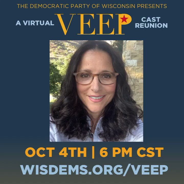 I'm SO excited to announce that we're doing a #VeepReunion on Oct 4 with @AnnaChlumsky, @Mrreidscott, @SamRichardson, @MrTonyHale, @CleaDuvall, @MrMattWalsh, @DavidHMandel and more! Chip in any amount to sign up! wisdems.org/veep