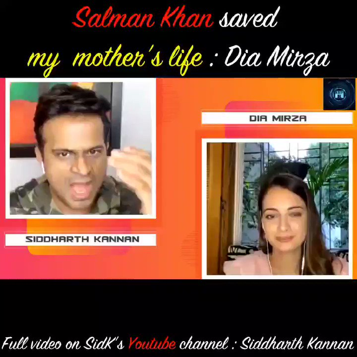 @BeingSalmanKhan . @BeingSalmanKhan saved my mother's life : @deespeak   Watch the full video on my @YouTubeIndia channel :   Don't forget to like, share and subscribe !  #Sidk #SiddharthKannan #DiaMirza #SalmanKhan #Bollywood