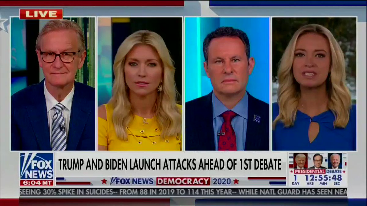 """Like Donald Trump Jr, WH Press Sec. Kayleigh McEnany is also going with the """"just before a debate"""" angle:   """"We've seen this play out before, where there was a hit piece about the president's taxes just before a debate."""" https://t.co/x67puLPIiu"""