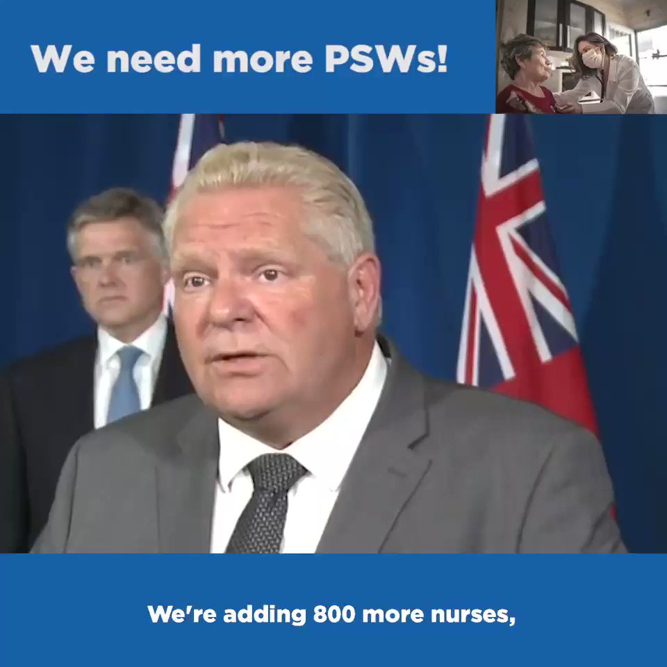 We need more PSWs! That's why we are investing $26.3M to support PSWs & supportive care workers: ✅$10.3M to recruit 2,000 more PSWs ✅$700K in PSW training for 220 students w/ health exp. ✅$1.3M to train 160 supportive care workers ✅$14M for the PSW training funds