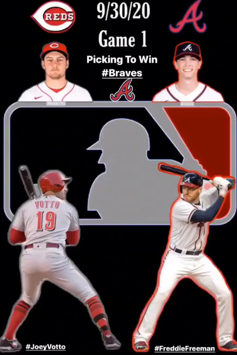 "9/30/20 @MLB #Postseason   Game 1  #RedsOctober  @Reds SP @BauerOutage  1B #JoeyVotto 🆚 #MixItUp  @Braves SP @MaxFried32  1B @FreddieFreeman5   Picking To Win Game 1: #ForTheA   #Reds #Braves #MLB   🎶 #Tomahawk ""Aktion 13fh"" https://t.co/A6Z8OnZi8X https://t.co/BIZ957yGTg"